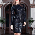 Bqueen 2017 New Arrival Black PU Long Sleeve Zipper 2 Piece Sets  Suits Bandage Dress Leather Autumn Winter Dresses