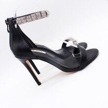 цена на Free shipping fashion women Pumps Black matt leather crystal strappy ankle high heels shoes Stiletto Heels 10cm