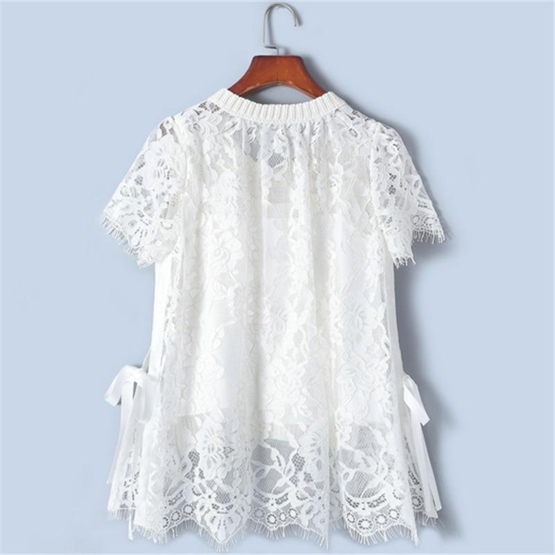 Camisetas de encaje elegantes delgadas con diseño de Tunjuefs Lolita delantera corta espalda larga para mujer verano-in Camisetas from Ropa de mujer    2