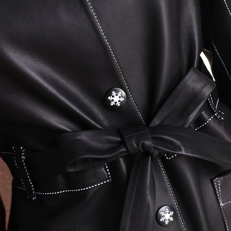 Véritable Design Haute Femmes Qualité Printemps De Slim 90113b Cuir Soft En Mode Manteau Npi Noir Touch Veste Ceinture Mouton Automne Peau Avec wa4Ip0