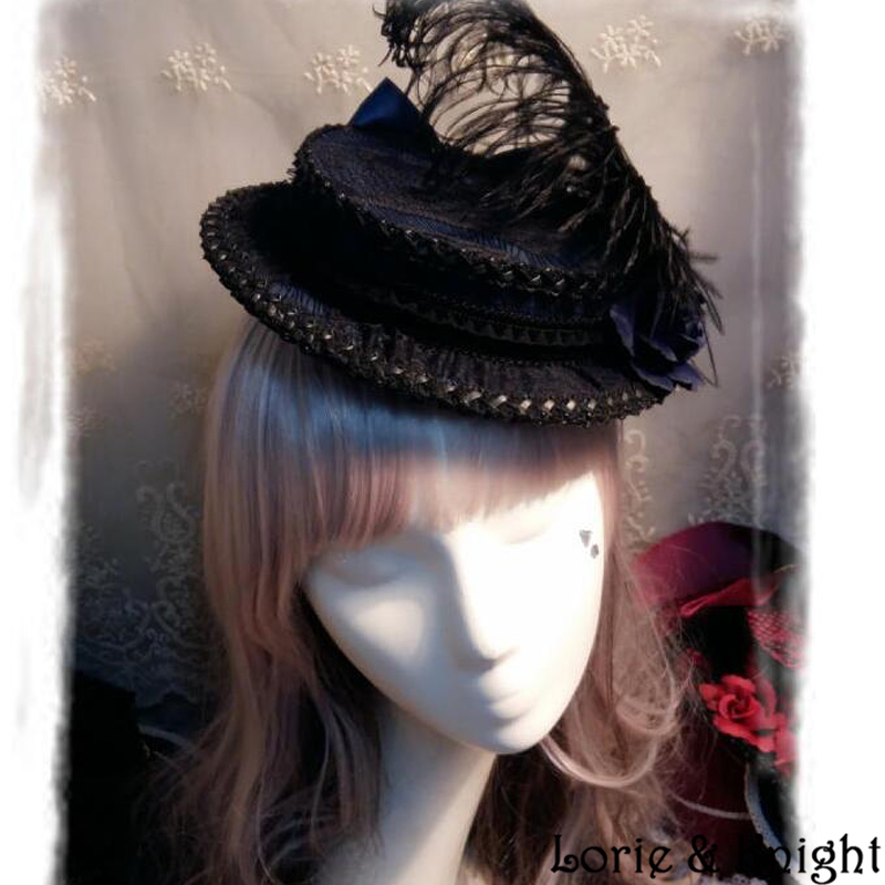 Luxury Retro Court Style Ladies Flower Feather Gothic Blue and Black Mini Boater Hat