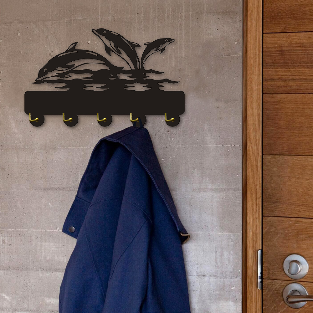 Us 10 55 12 Off 1piece Dolphin Sign Design Modern Wall Hooks Coat Hanger Household Decor Robe Hook Bathroom Towel In Hangers