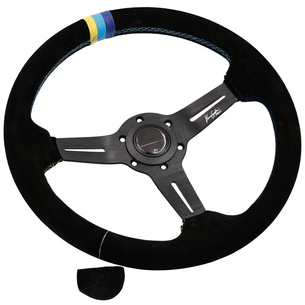 350mm GPP Suede Leather Steering Wheels With 3 Color Stitching