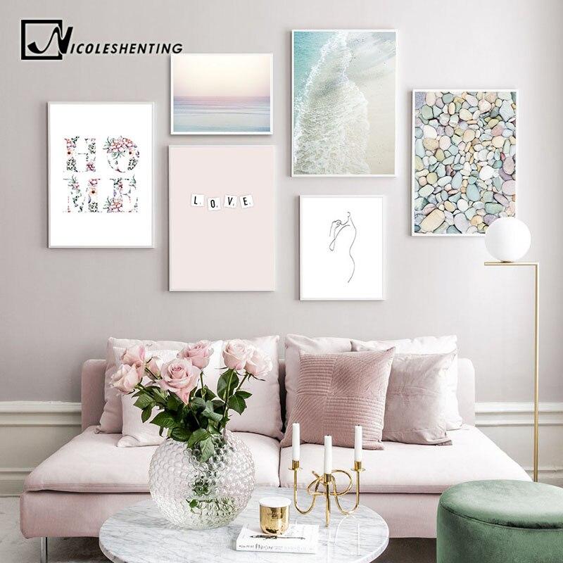 Nordique Flamingo Fleur Mur Art Toile Affiche Rose