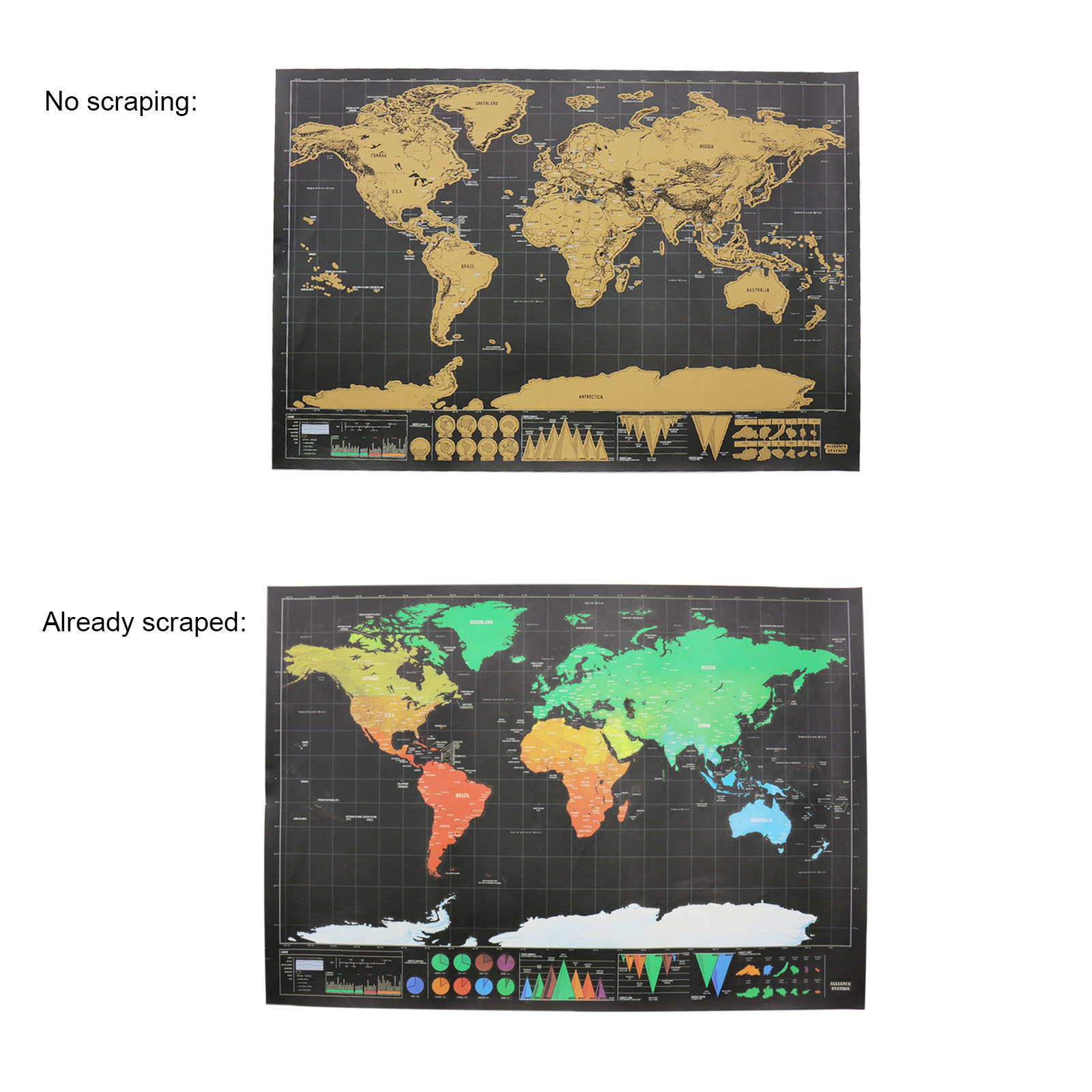 New Scratch Map New Design Black Deluxe Maps Travelwr Scratch Off World Best Gift for Education School Office Supplies image
