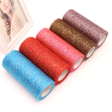 6inch*10Y Gold Sliver Wire Tissue Tulle Roll Spool High Quality Colorful Gauze Fabric Stage Craft Wedding Decoration