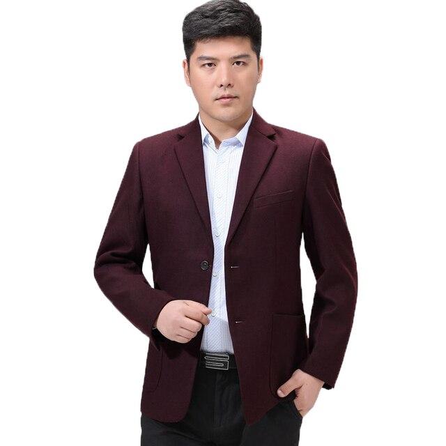 Hombre Slim Fit Blazer Chaquetas Traje Casual de Negocios de Vino Rojo azul marino camel lana mezclas chaquetas de oficina ropa traje masculino Outwear