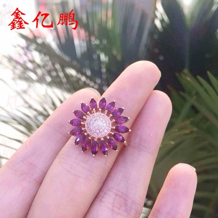 Móda a osobnost květiny tvoří 925 stříbro vykládané přírodní rubínový prsten ženské 2 x4 mm koně položky na prodej