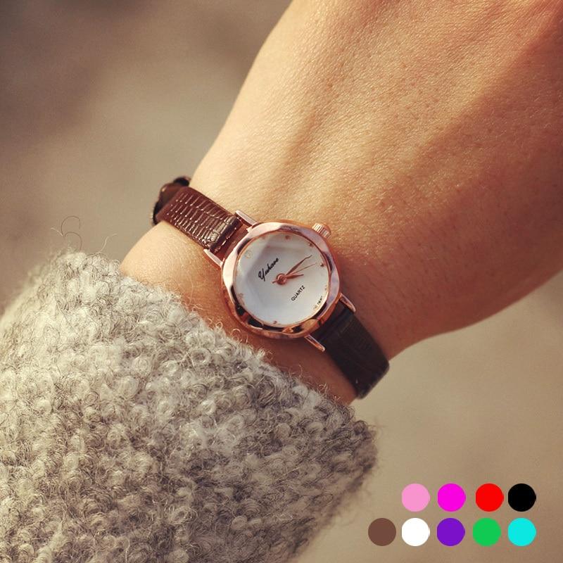 Classic Female Women Watch Wrist Clocks Hours Retro Candy Color Leather Belt Small Dial Quartz Wristwatches Fashion Hot Relogio