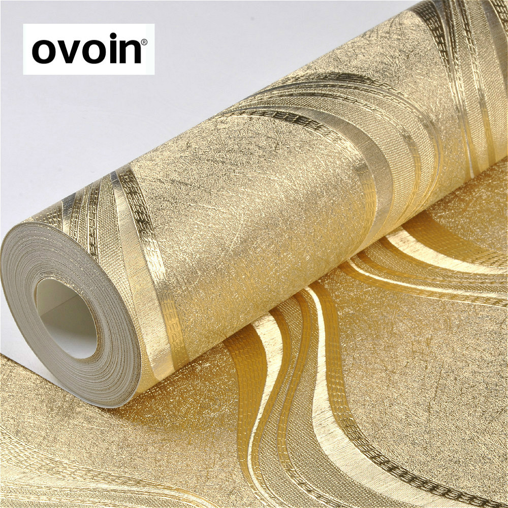 Aliexpress.com : Buy Luxury Foil Silver / Gold Metallic Wallpaper ...