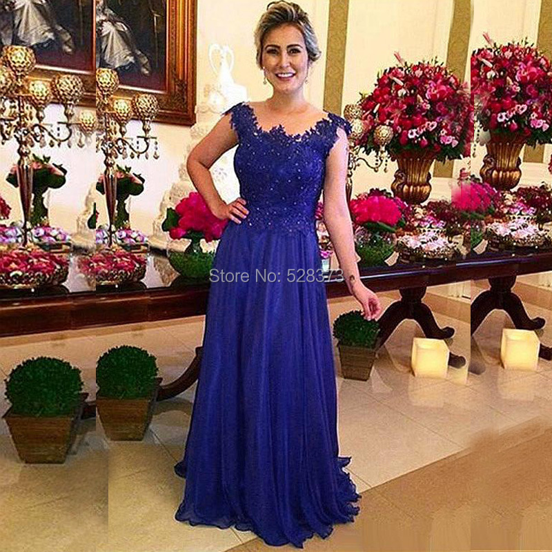 YNQNFS MD73 Elegant Party Dress Sheer Neck Cap Sleeves Royal Blue Mother of the Bride Dresses Real Pictures 2018
