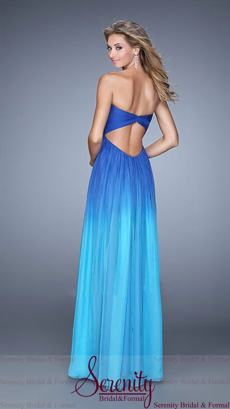 Dresses with Straps Long Blue Ombre