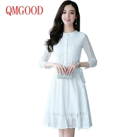 QMGOOD 2017 Autumn Noble Lace Dress Women Clothing High Quality Blouse Lace Dress For Elegant Lady