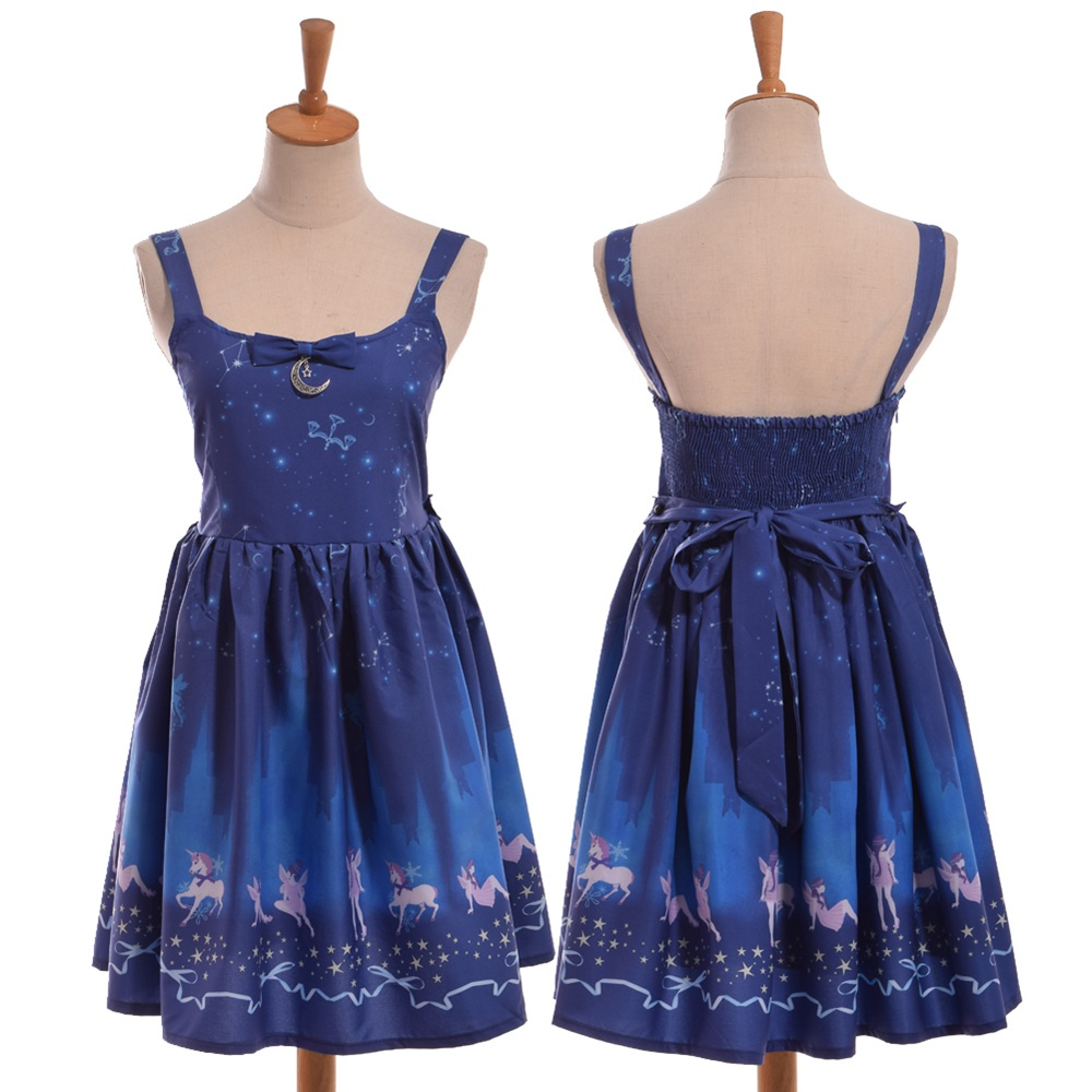 Fantasy Starry Print JSK Suspender Dress Girls Japanese Fairy Dark Blue Dress
