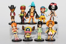 Anime One Piece Figures Luffy/Roronoa/Zoro/Sanji/Chopper/Robin/Brook/ Nami PVC Action Figure Toys Dolls 9pcs/set Great Gift
