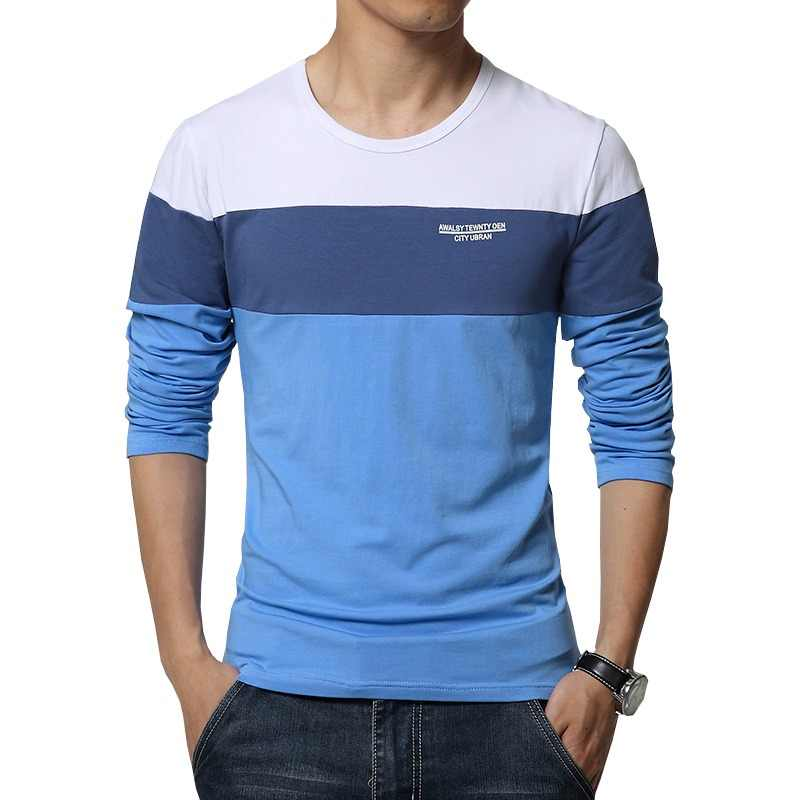 Primavera de 2019 nueva llegada de los hombres T camisa cuello Patchwork manga  larga T camisa 335a6fba33c