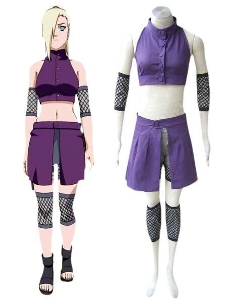 Free Shipping font b Naruto b font Shippuden Ino Yamanaka Ninja Suit Anime font b Cosplay