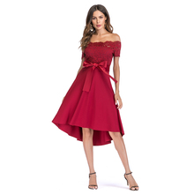 2018 New Stylish Woman Sexy Club  Party Summer Asymmetrical Slash Neck A Line Lace Bow Waist Midi Dress