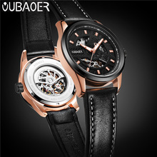 OUBAOER Automatic Mechanical Men Watch Top Brand Luxury Real Leather Mens Watches Military Business Sport Male Clock Hot 2002