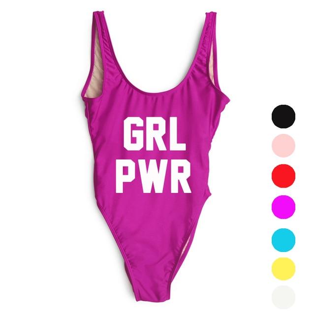 58be4e1d96802 GRL PWR High Cut Swimwear One Piece Swimsuit Purple Letter Bikini Waist  Thong Bathing Suit Beachwear