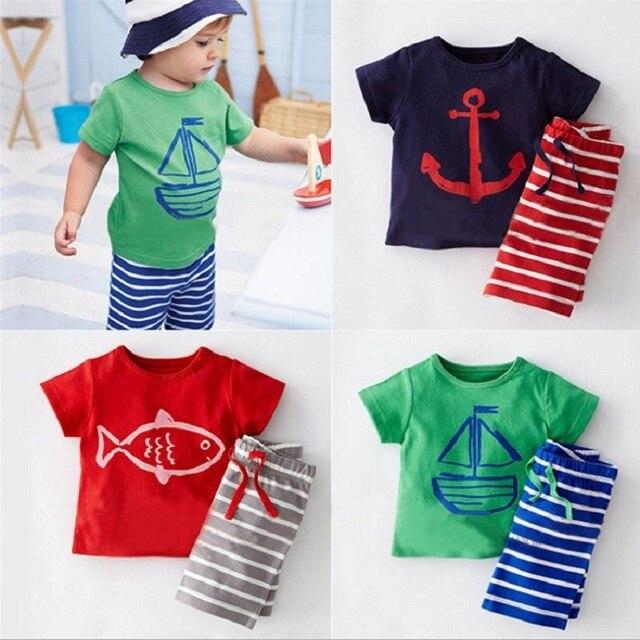 Marinheiro Bebê Menino Roupas Sets Crianças T-Shirt Shorts Pant Terno  Meninos Roupas Marinha Camisetas b0db5b173f9d9