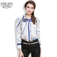 2017 New Arrival Fashion Spring European Trade Women Blouse Classic Printing Shirt Female Long Sleeve All