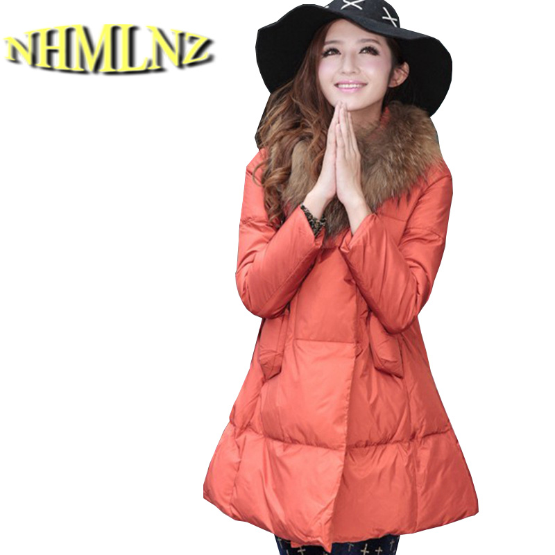 Korea New Fashion Women Winter Duck down Down jacket Elegant Slim Cloak Fur collar Coat Leisure Big yards Thick Warm Coat G2347 цены онлайн