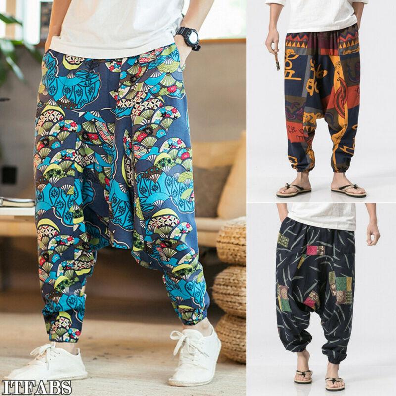 Harem Pants New Hip Hop Aladdin Hmong Baggy Cotton Linen Men Women Plus Size Wide Leg Trousers Cross-pants