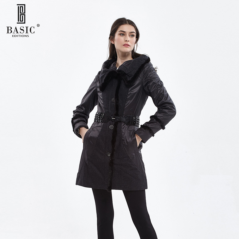 BASIC EDITIONS Fall and Winter Women's Long Jacket With Hood Mink Fur Trim Parka Women Cotton Coat - 11W-05 basic editions fall winter brown metallic silk fabric cotton coat with rabbit fur collar with belt covered button 7001d11