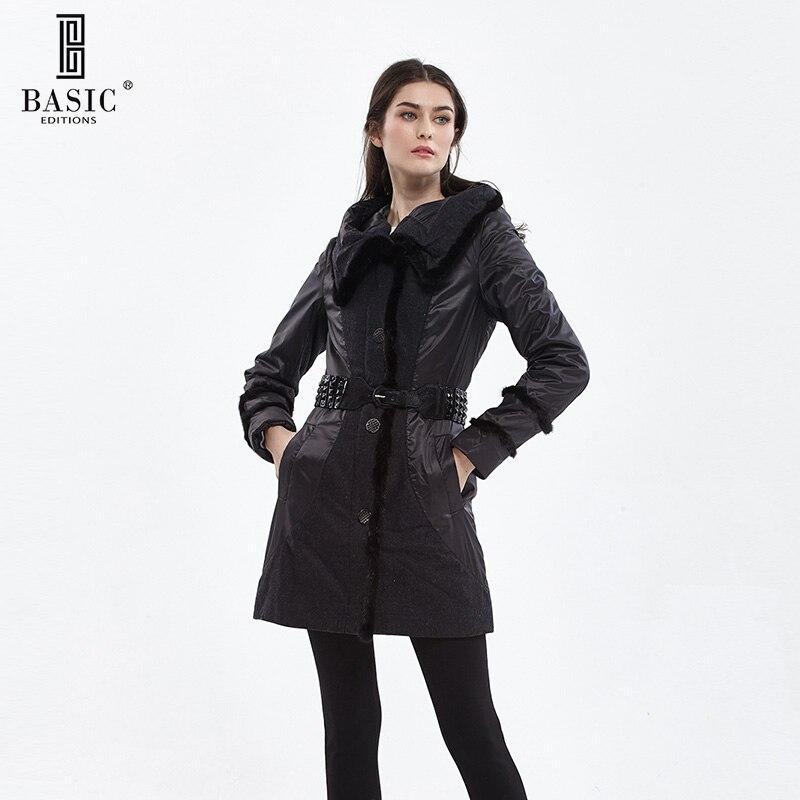 Basic Editions осенью и зимой Для женщин длинная куртка с капюшоном норки Мех животных trim Parka Для женщин хлопковое пальто-11w-05