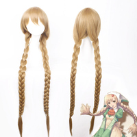 Shining Hearts: Shiawase No Pan The honey dew Cosplay Wig 120cm Long Braided Synthetic Hair Wig for Anime Party Linen Color