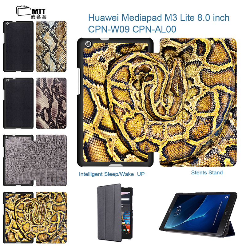 MTT Snakeskin Texture Case For Huawei MediaPad M3 lite 8 Tablet Case M3 8.0 inch Leather Protective Cover CPN-L09 CPN-W09 AL00 case for huawei mediapad m3 lite 8 inch magnet wake smart case cover for huawei mediapad m3 lite 8 0 inch with stand holder