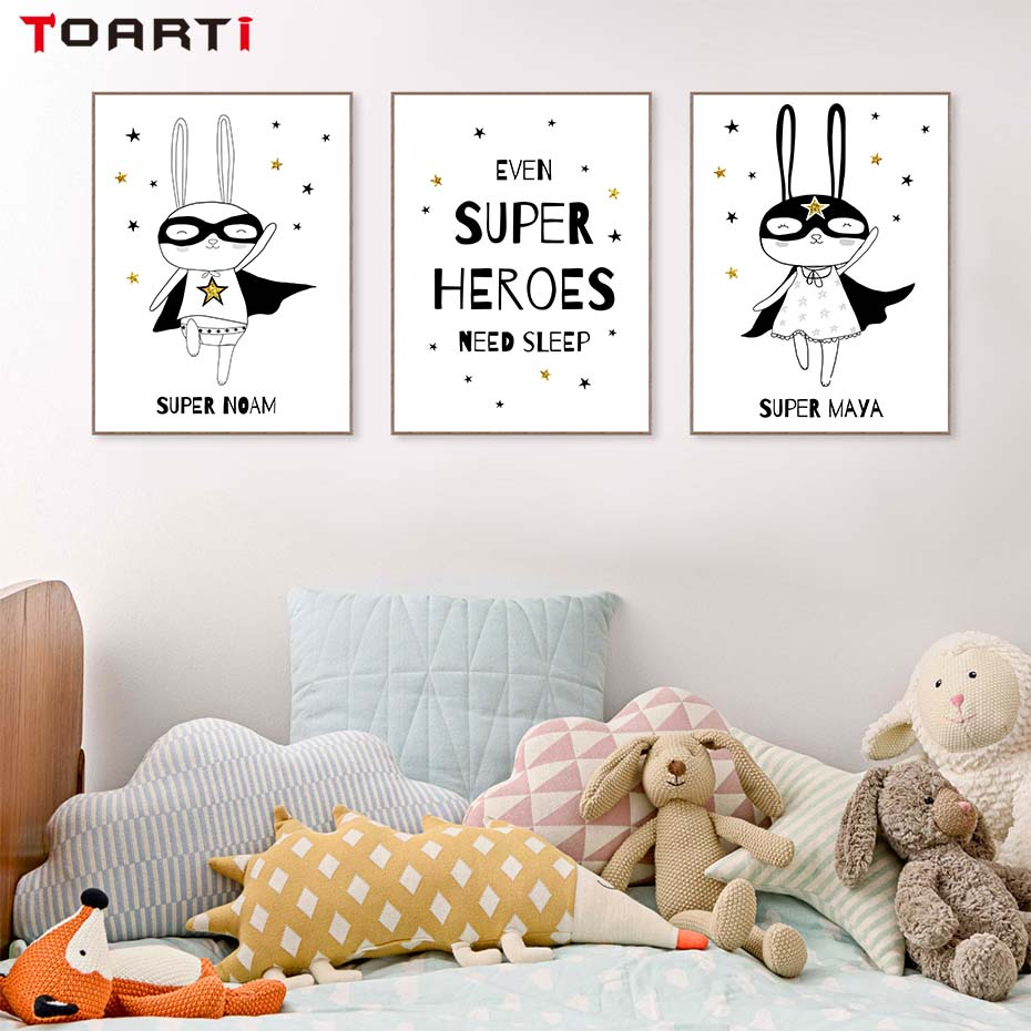 Neutral gender nursery baby superhero poters and prints black white superhero wall art printable bunny canvas home decoration in painting calligraphy
