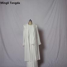 be76ebb433 Mingli Tengda niebieski Ivory szyfonowa trzy kawałki matka panny młodej  Pant Suits zroszony sukienki dla matki panny młodej z dł.