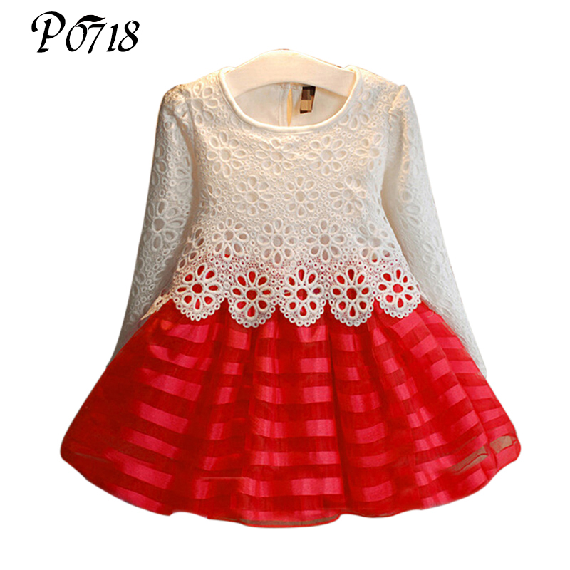 3 5 7 8 9 11 12 Years Toddler Girls Tutu Dress 2017 Autumn Kids Baby Hook Flower Lace Long Sleeve Princess Dresses Girls Clothes