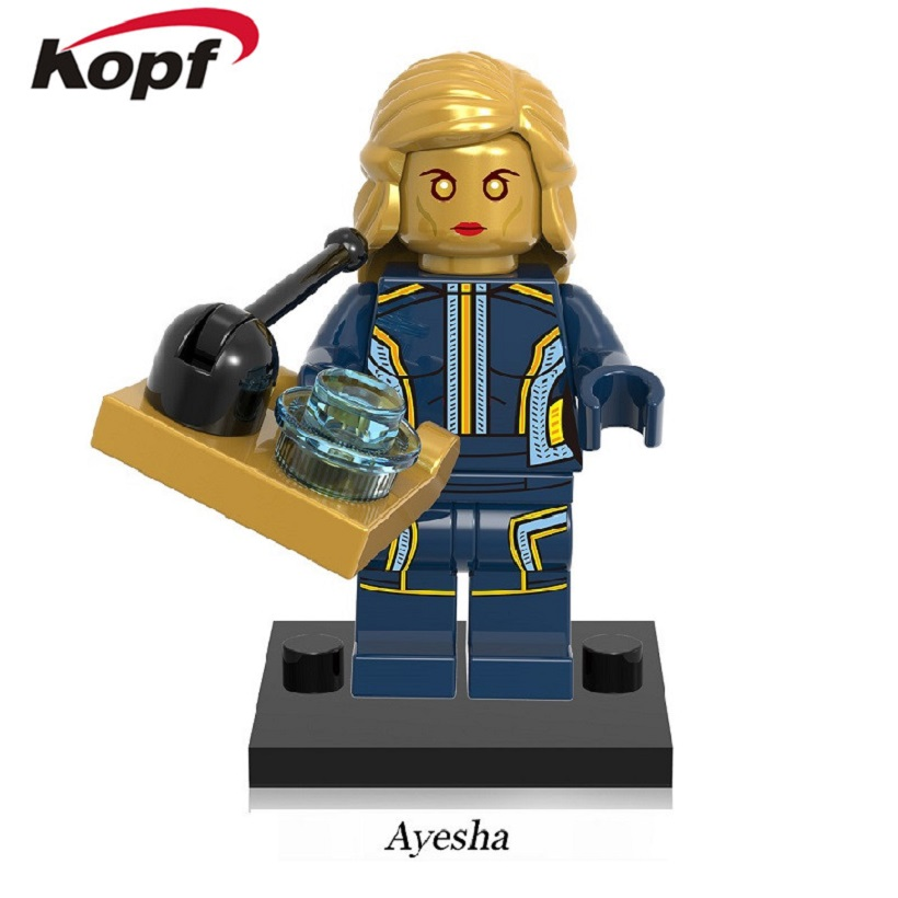 20Pcs Guardians of the Galaxy Ayesha Rocket Racoon Gold Supervillain Kismet Super Heroes Building Blocks Toys for Kids XH 604