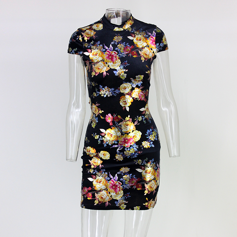 Back Tie Up Print Short Sleeve Mini Bodycon Dress 1