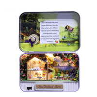 3D Wooden Puzzle Doll House Led Light Miniature Theatre Dollhouse DIY Assembly Mini House Furniture Theme