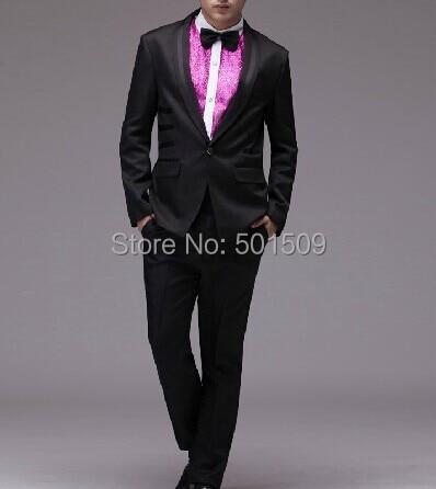 Free shipping font b mens b font full set 4pcs set black plain tuxedo suit black