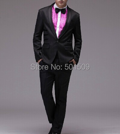 Free Shipping Mens Full Set 4pcs/set Black Plain Tuxedo Suit Black Event Suit/one Set Include Jacket, Shirt, Pants And Bownot!