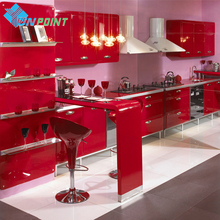 ФОТО 60cmX5m Red Paint Waterproof Vinyl Decorative Film Self-adhesive Wallpaper for Kitchen Furniture Stickers PVC Home Decor