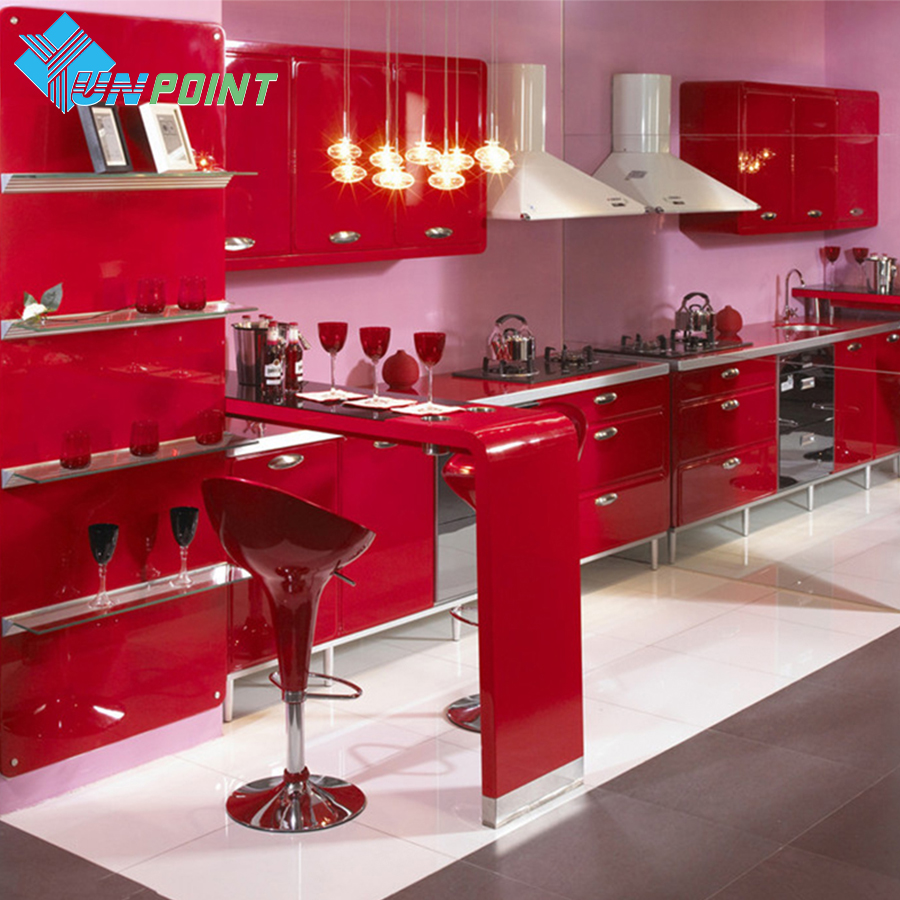 New Red Paint Waterproof DIY Decorative Film PVC Vinyl Self Adhesive Wallpaper <font><b>Kitchen</b></font> Cabinet Furniture Wall Sticker Home Decor