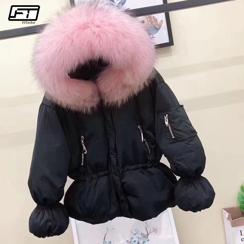 Fitaylor Winter Women 90% White Duck Down Jackets Coat Large Real Fur Hooded Short Parkas Lady Warm Slim Snow Down Outwear