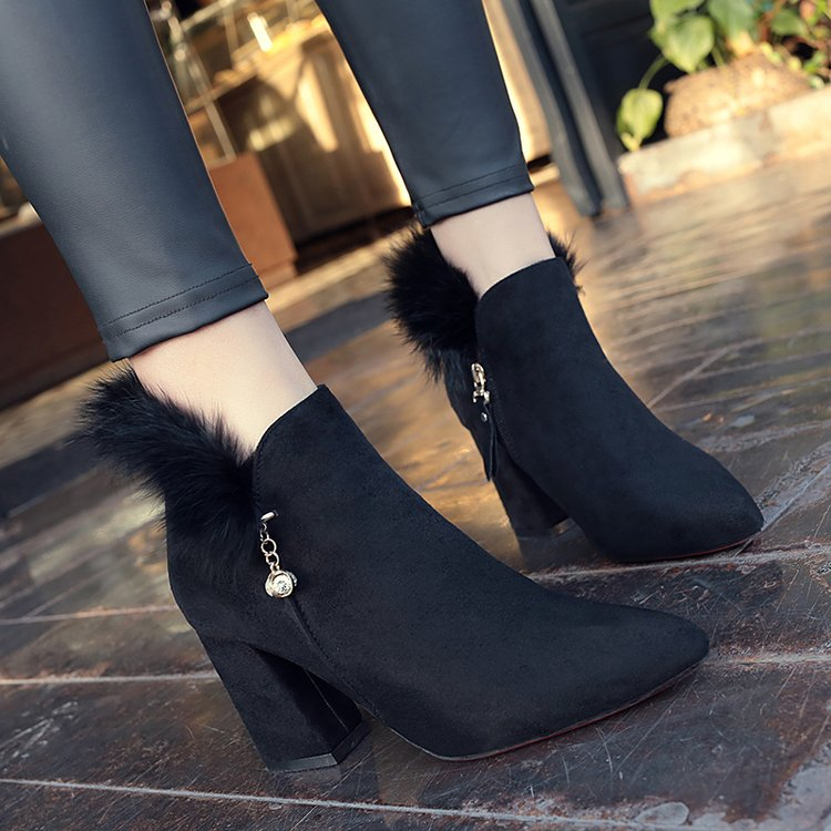 Chaussures Noir Hauts khaki Talon Hiver Green Flock 2018 Mujer Martin Botines Bottes Nouveau Épais army Cuir À Orteil En Pointu Femmes Talons Femme D29eIYWEH