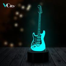 VCity 3D Night Light Luminaria Electric Guitar Led Table Lamp Bulb RGB Multicolor Change Gifts for
