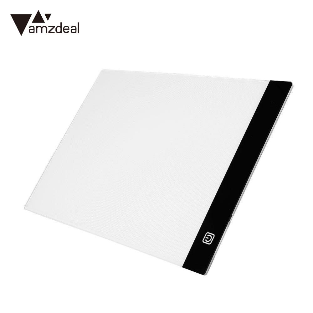 AMZDEAL Ultra Thin A4 LED Light Stencil Touch Board Copy Painting Drawing Board Table Pad Dimmable