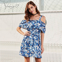 Young17 Casual Dress Blue Patchwork Sleeveless Backless Floral Print Fashion Beauty Sexy Elegant New Women Dating