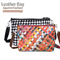 Squirrel fashion genuine leather multicolor knit women messenger bag casual classic cross-body panelled plaid girls handbag tote