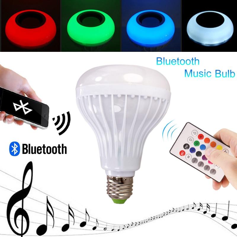 Smart Wireless 12W Power E27 LED RGB Bluetooth Speaker Bulb Light Lamp Music Playing with 24 Keys Remote Control