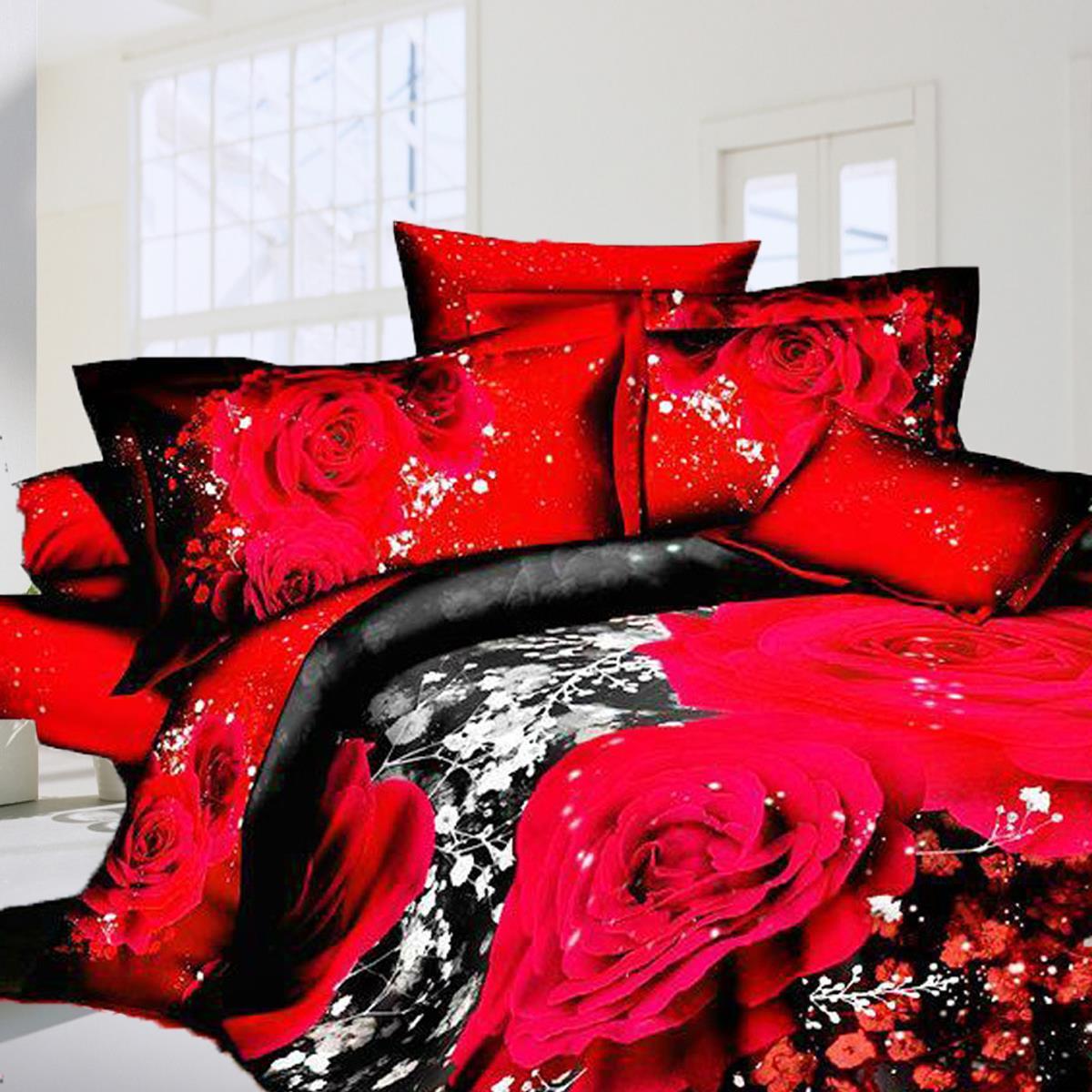 online get cheap rose flower comforter aliexpresscom  alibaba group - bedding set red rose flower cheetah sky stars quilt pcs cotton  duvetcover  bed sheet  pillowcases d comforter